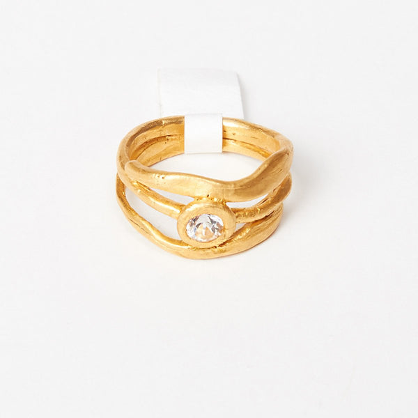 Liza Shtromberg Three Layer Gold Cubic Zirconia Ring