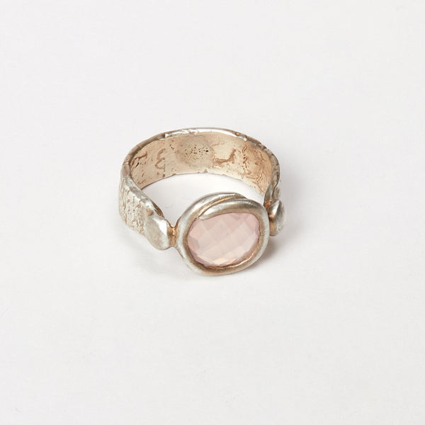 Liza Shtromberg Silver Rose Quartz Ring