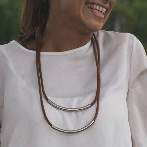 Michal Cohen Leather Cord Double Necklace