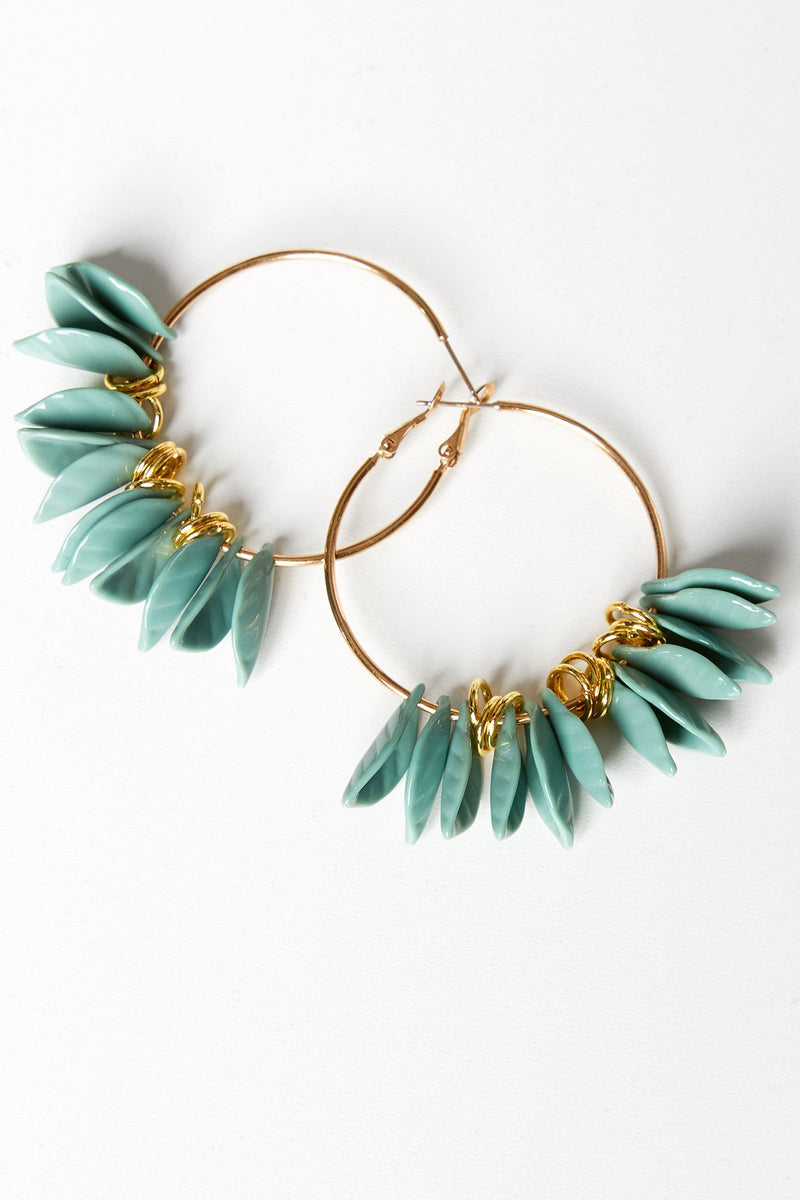 Hoop Earrings with Leaves