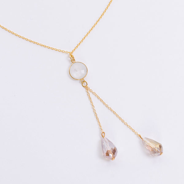 Moonstone and Crystal Pendant Gold Necklace