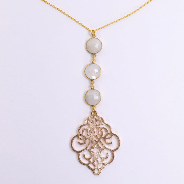 Triple Moonstone Pendant Necklace