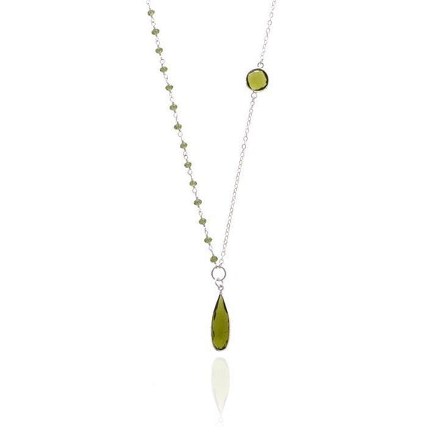 Gogh Jewelry Design Asymmetrical Olive Quartz Crystal Necklace for Self Esteem