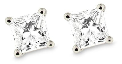 IGI Certified Platinum Princess Diamond Stud Earrings (1/4 - 2 cttw, G-H Color, VS2 Clarity)