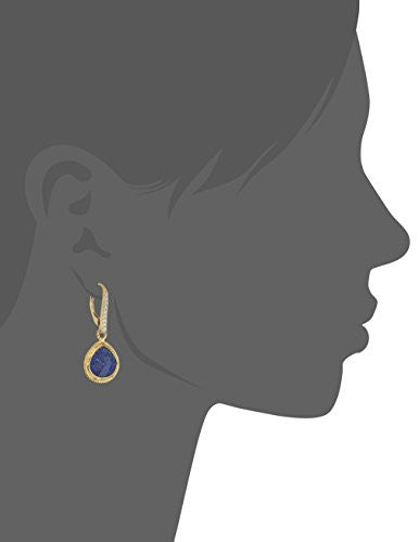 Yellow Gold-Plated Sterling Silver Swarovski Zirconia Pear-shaped with Natural Lever Back Earrings