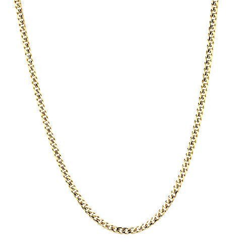 Luxurman 14k White or Yellow Gold Miami Cuban Link Solid Chain Necklace with Lobster Claw Clasp 5mm Wide