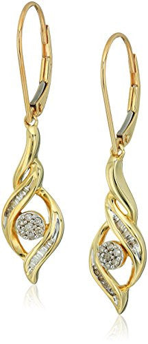 10k Yellow Gold Diamond Cluster Earrings (1/5cttw, I-J Color, I2-I3 Clarity)