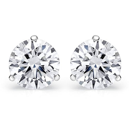 1/4 - 2 Carat Total Weight GIA Certified Round Diamond Stud Earrings 3 Prong Push Back (D-E Color SI1-SI2 Clarity)