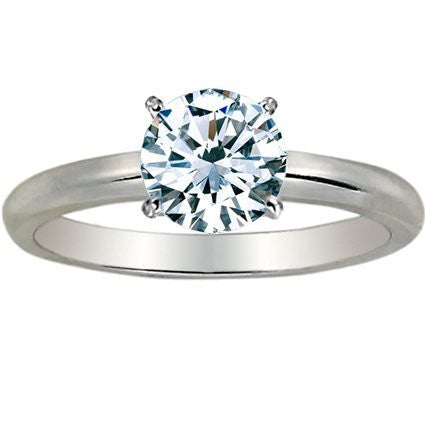 1 1/2 Carat Round Cut Diamond Solitaire Engagement Ring 18K White Gold 4 Prong (J, SI2-I1, 1.5 c.t.w) Ideal Cut