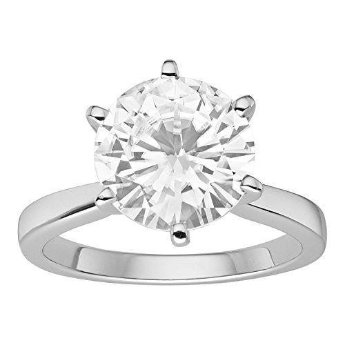Forever Brilliant White Gold Round 9.5mm Moissanite Engagement Ring, 3.10ct DEW By Charles & Colvard