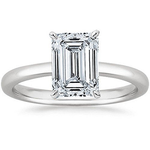 18K White Gold Emerald Cut Solitaire Diamond Engagement Ring (1.21 Carat I Color VS1 Clarity)