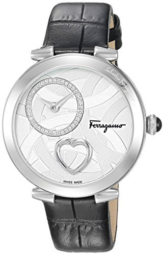 Salvatore Ferragamo Women's 'Beating Heart' Swiss Quartz Stainless Steel and Leather Casual Watch, Color:Black (Model: FE2020016)