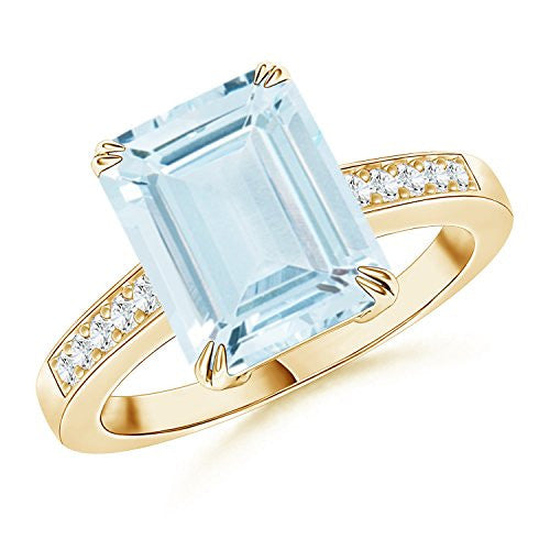 Emerald Cut Aquamarine Cocktail Ring with Diamond Accent