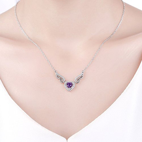 Sterling Silver Purple Natural Amethyst Gemstone Love Angell Wings and Heart Pendant Necklace