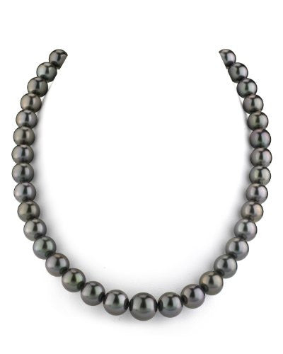 "14K Gold GLA CERTIFIED Black Tahitian South Sea Cultured Pearl Necklace - AAAA Quality, 18"" Length"