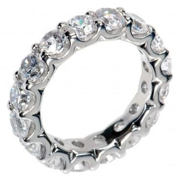3.00 Ct Round Cut Diamond Eternity Wedding Band. Comfort Fit Ring in 14 kt White Gold