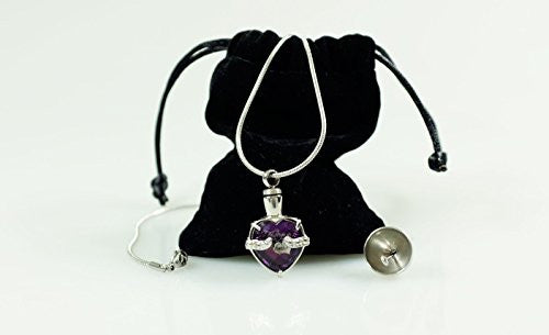 "Infinity Keepsakes Cremation Urn Necklace for Ashes ""Always in my Heart"" Engraved Bereavement Jewelry with Fill Kit and Velvet Bag"