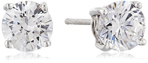 Platinum-Plated Sterling Silver Swarovski Zirconia 3 cttw Round Stud Earrings