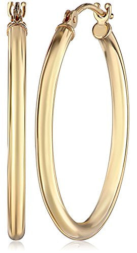 "14k Gold Hoop Earrings, 1"" Diameter"