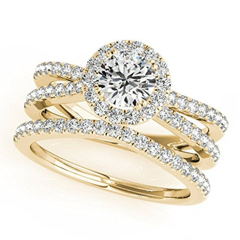 1 Carat Halo Daimond Engagement Bridal Ring Set 14K Solid Yellow Gold