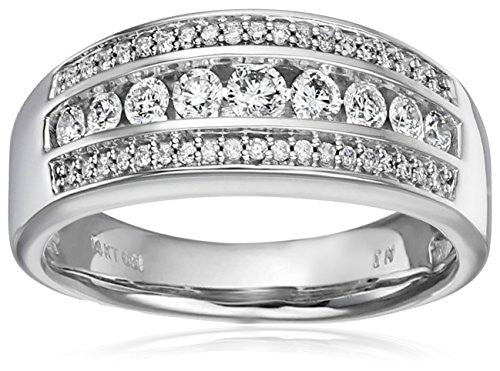 14k White Gold Diamond 3-Row Channel and Prong Graduated Anniversary Ring (1 cttw, H-I Color, I1-I2 Clarity)