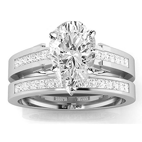 1.7 Cttw 14K White Gold Pear Cut Channel Set Princess Cut Bridal Set Diamond Engagement Ring Wedding Band with a 1 Carat H-I Color SI2-I1 Clarity Center