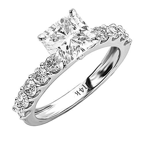 1.9 Ctw 14K White Gold GIA Certified Cushion Cut Classic Side Stone Prong Set Diamond Engagement Ring, 1 Ct G-H VVS1-VVS2 Center