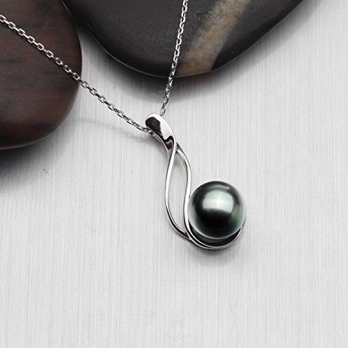 Tahitian Cultured Black Pearl Pendant Necklace 9-10mm Round Sterling Silver Anniversary Gifts for Women - VIKI LYNN