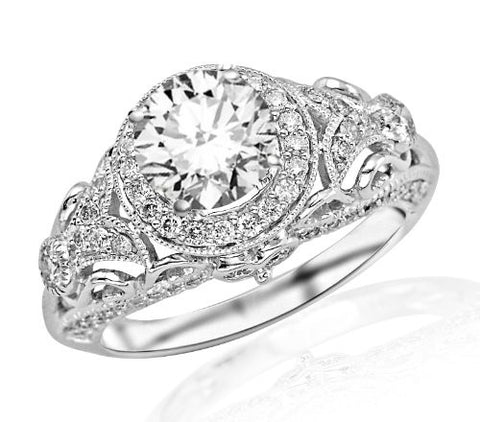 1.7 Carat Round Cut Round Diamond Engagement Ring 14K White Gold Vintage Halo Style (E Color, SI2-I1 Clarity)