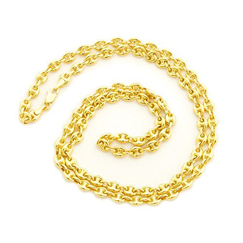 "Solid 14k Yellow Gold 4.7mm Puffed Mariner Chain Necklace, 18"" 20"" 24"""