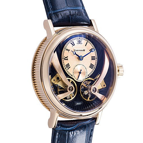 Thomas Earnshaw Men's 'BEAUFORT' Automatic Stainless Steel and Leather Casual Watch, Color:Blue (Model: ES-8059-05)
