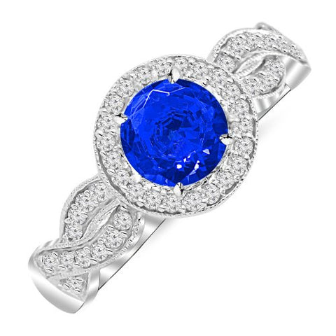 1.3 Carat 14K White Gold Twisting Eternity Halo Style with Milgrain Diamond Engagement Ring with a 1 Carat Natural Blue Sapphire Center (Heirloom Quality)