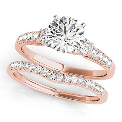 1.25 Ct. Halo Diamond Engagement Bridal Set Ring Crafted In 14k Solid Rose Gold
