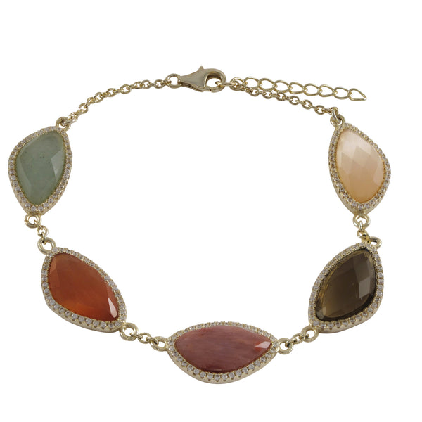 "Multi Color Semi Precious Stones With CZ Border, Gold Plated Sterling Silver Bracelet, 7.25"" 1"" - N & R Products"