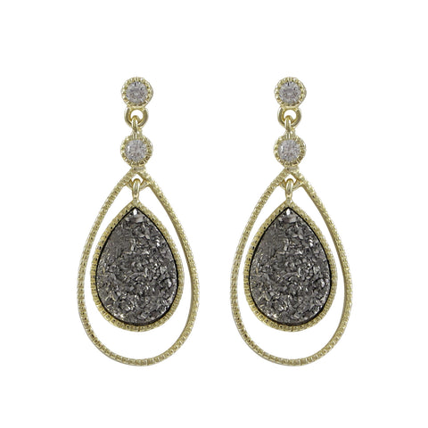 Gold Plated Sterling Silver, Grey Teardrop Druzy, CZ Post Earrings Dimensions: 31.5mm Long x 14mm Wide x 3.3mm Deep - N & R Products