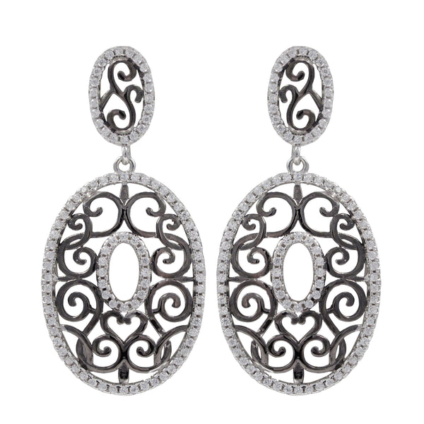 Rhodium And Black Plated Sterling Silver, Filigree Oval CZ Dangle Post Earrings - N & R Products