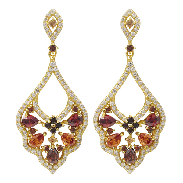 SKU # : 7EP354-SS-GD-Grnt Description Gold Plated Sterling Silver, Garnet And Champagne CZ Combination With White CZ Border And Center, Post Earrings Dimensions: 37mm Long x 16.5mm Wide x 2.4mm Deep MSRP : $207.00 - N & R Products