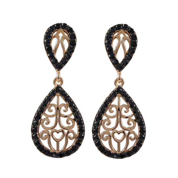 Rose Plated Sterling Silver Filigree Teardrop Post Earrings With Black CZ Border- 1.26 - N & R Products