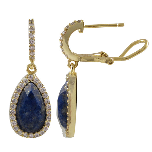 Lapis Semi Precious Faceted Teardrop Stone With CZ Border, On Gold Plated Sterling Silver CZ Post Clip Earrings Dimensions: 29.6mm Long x 10.8mm Wide x 4.5mm Deep - N & R Products