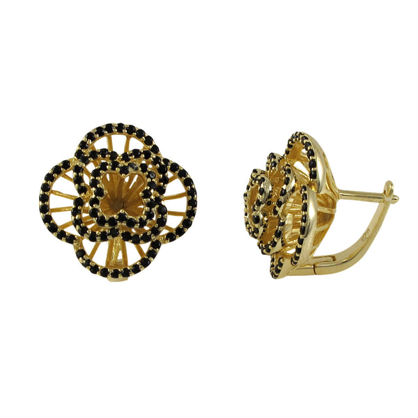 SKU # : 7EW09 SS tt Description Sterling Silver Gold Plated Flower Earrings with Black CZ MSRP : $267.00 - N & R Products