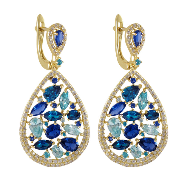 Gold Plated Sterling Silver, 20.5x28.5mm Teardrop With White CZ And Lab Created Blue Sapphire Combination Stones, Lever Back Earrings Dimensions: 42.5mm Long x 20.5mm Wide x 3.4mm Deep - N & R Products