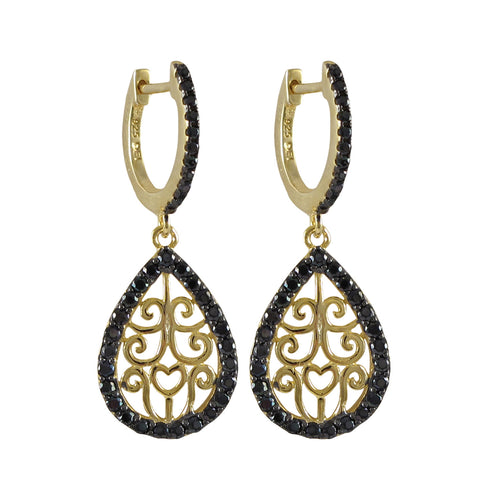 Gold And Black Over Sterling Silver Filigree Teardrop Lever Back Earrings With Black CZ Border Dimensions: 34.4mm Long x 12.8mm Wide x 1.8mm Deep - N & R Products