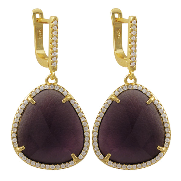 SKU # : 7EW559-SS-GD-45 Description Purple Faceted Sliced Glass Stone, Gold Plated Sterling Silver Clover CZ Lever Back Earrings Dimensions: 37.3mm Long x 19.2mm Wide x 4.5mm Deep MSRP : $121.50