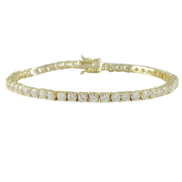 Gold Plated Sterling Silver 3m AAA CZ Tennis Bracelet - N & R Products