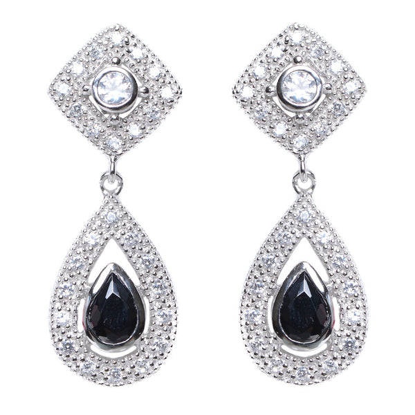 Sterling Silver-white & black CZ Post earring - N & R Products