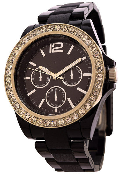 FMD Crystal accents Women's Fashion Watch by Fossil - Black Color [FMDCT383]  Price:  $ 39.99 RETAIL - N & R Products