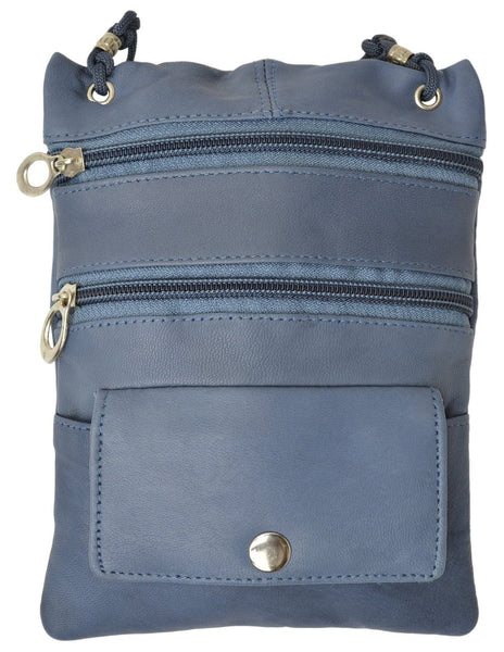 Genuine Leather Multi-Pocket Crossbody Purse Bag [MA-510] - N & R Products