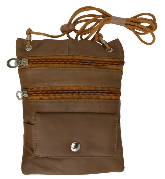 Genuine Leather Multi-Pocket Crossbody Purse Bag [MA-510]
