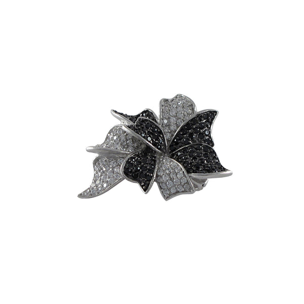 Sterling Silver Rhodium Plated Pendant (Brooch/pin) with Black and White CZ - N & R Products