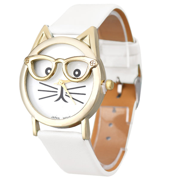 Mance 5Color Fashion Casual Neutral Women Lovely Cats Face Cartoon designer Faux Leather Analog Quartz Dial Wrist Watch